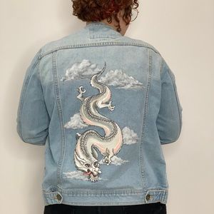Handpainted Jean Jacket. Lucky Dragon